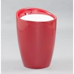Puff vermelho, pele sintética branco SD1174