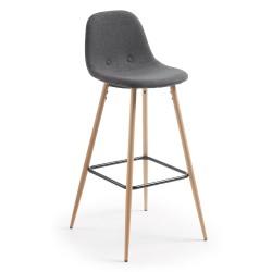 Cadeira Metal, Tecido Cinza Escuro L987