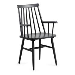 Cadeira madeira preta c/ braços L1016