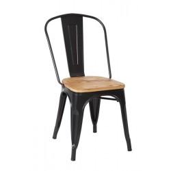 Cadeira Aço Preto, T/Madeira SD39