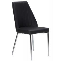 Cadeira Cromada, Pele Sint. Preta SD70