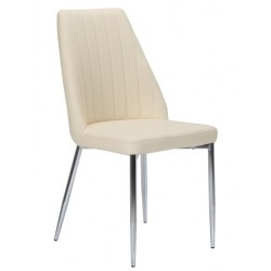 Cadeira Cromada, Pele Sint. Bege SD71