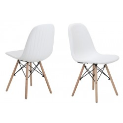 Cadeira Madeira + Metal Pele Sint. Branca SD78
