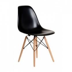 Cadeira Madeira, Polipropileno Preto SD100