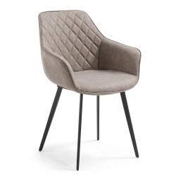 Cadeira c/ Braços Pele Sint. Cinza L76