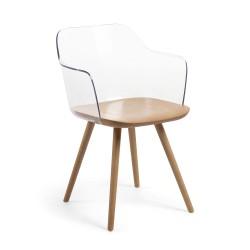 Cadeira c/Braços, Madeira + Policarbonato L251