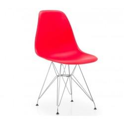 Cadeira cromada, polipropileno vermelho SD62