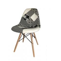Cadeira madeira, tecido patchwork SD220
