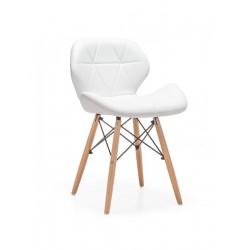 Cadeira Madeira, Pele Sintética Branca SD299