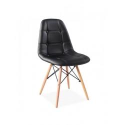 Cadeira Madeira, Pele Sintética Preta SD301