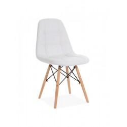 Cadeira Madeira, Pele Sintética Branca SD304