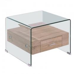 Mesa apoio vidro + madeira, 50x50 cm SD269