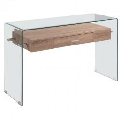 Consola vidro + madeira, 120x40 cms SD275