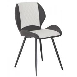 Cadeira Metal Pele Sit. Cinza+Branco SD1534