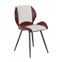 Cadeira Metal Pele Sit. Cinza+Branco SD1535