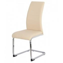 Cadeira Metal Pele Sit. Bege SD1538