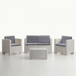 Conjunto 1+1+2+mesa, Branco + Cinza SD1396