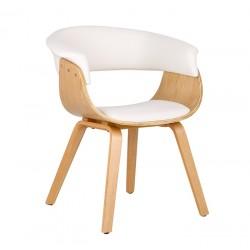 Cadeira Madeira, Pele Sintética Branca SD1611
