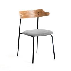 Cadeira Metal Preto + Madeira L1402