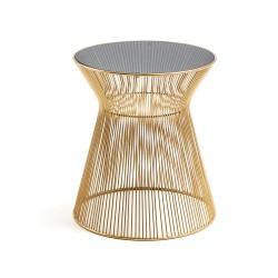 Mesa Apoio Metal Dourado T/Vidro Preto L1153