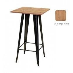 Mesa alta aço + madeira 60x60, SD1840