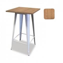 Mesa alta aço + madeira 60x60, SD1841