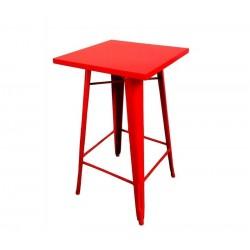 Mesa alta, aço, vermelho, 60x60 cms, SD595
