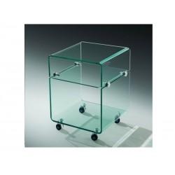 Mesa apoio , vidro, rodas, 40x40 cms