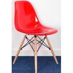Cadeira madeira, policarbonato transparente,SD870